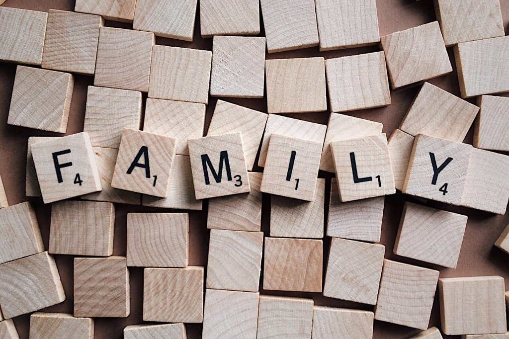 Family, in scrabble tiles